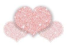 Corazón brillante del brillo del oro rosado Fotos de archivo