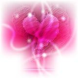 Corazón brillante del garabato que brilla intensamente Fotografía de archivo