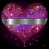Corazón brillante del rhinestone Imagen de archivo