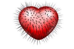 Corazón brillante rojo con los puntos negros ilustración del vector