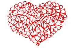 Corazón bueno estilizado rojo de rizos y de brotes Foto de archivo