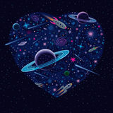 Corazón cósmico de la tarjeta del día de San Valentín ilustración del vector