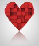 Corazón cúbico tridimensional romántico rojo Foto de archivo libre de regalías