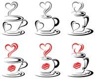 Corazón caliente de las tazas de café Fotografía de archivo