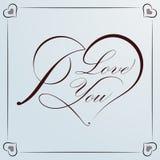Corazón caligráfico para la tarjeta del día de San Valentín ilustración del vector