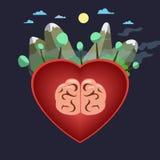 Corazón-cerebro-mundo stock de ilustración