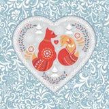 Corazón a cielo abierto de los ornamentos de una flor con un zorro Imágenes de archivo libres de regalías