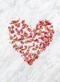 Corazón color de rosa secado de las flores en el fondo de mármol fotografía de archivo libre de regalías