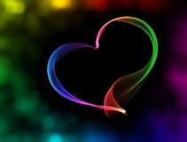 Corazón colorido con las luces del bokeh Imagen de archivo
