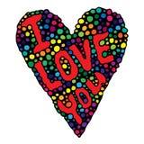 Corazón colorido con te amo el texto Fotografía de archivo