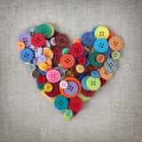 Corazón colorido de los botones Foto de archivo libre de regalías