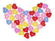 Corazón colorido de los botones Fotos de archivo