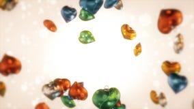Corazón colorido de los bulbos de la Navidad Imágenes de archivo libres de regalías