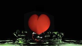 Corazón con agua verde Foto de archivo