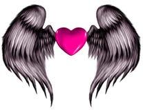 Corazón con alas color de rosa Fotografía de archivo
