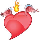 Corazón con alas con la llama Imagen de archivo libre de regalías