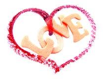 Corazón con amor de la palabra Imágenes de archivo libres de regalías