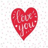 Corazón con amor dibujado mano del texto de la caligrafía usted para el día de tarjetas del día de San Valentín, boda, datación y Imagen de archivo libre de regalías