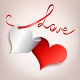 Corazón con applique de la cinta. amor Foto de archivo