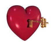 Corazón con clave Imagen de archivo