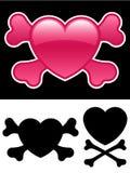 Corazón con crossbones stock de ilustración