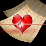 Corazón con el ekg Imágenes de archivo libres de regalías