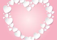 Corazón con el espacio de la copia en fondo rosado Fotografía de archivo