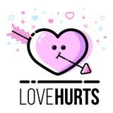 Corazón con el icono de la flecha para la tarjeta de felicitación de Valentine Day del santo Línea estilo plana ilustración del vector