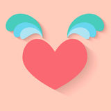 Corazón con el icono de las alas Foto de archivo