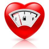Corazón con el indicador de combustible stock de ilustración