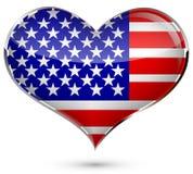 Corazón con el indicador de los E.E.U.U. ilustración del vector