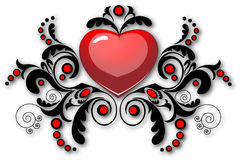 Corazón con el modelo floral Fotografía de archivo