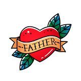 Corazón con el padre de la cinta y de la inscripción Saludo del elemento retro de la postal para el día de padre Tatuaje del vint