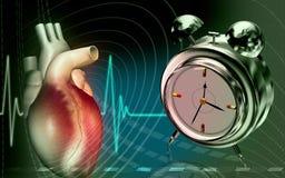 Corazón con el reloj de alarma Foto de archivo libre de regalías