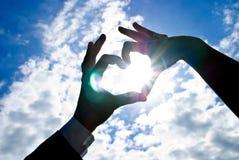 Corazón con el sol adentro Foto de archivo libre de regalías