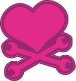 Corazón con el vector Clipart de la bandera pirata stock de ilustración