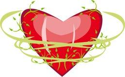 Corazón con follaje Imagen de archivo libre de regalías