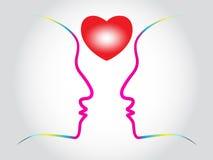 Corazón con forma del rostro humano stock de ilustración