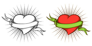 Corazón con la cinta en estilo del tatuaje. Fotografía de archivo libre de regalías