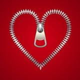 Corazón con la cremallera, hecha de los iconos masculinos y femeninos, ejemplo del vector Imagen de archivo