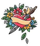 Corazón con la daga, la cinta y las flores Tatuaje retro Ejemplo retro del vector de la escuela vieja ilustración del vector