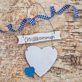 Corazón con la recepción escrita en alemán Fotos de archivo