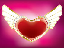 Corazón con las alas ilustración del vector