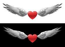 Corazón con las alas Foto de archivo libre de regalías