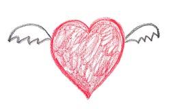 Corazón con las alas Imagen de archivo libre de regalías