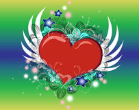 Corazón con las alas foto de archivo