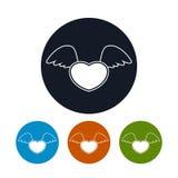 Corazón con las alas, ejemplo del icono del vector Fotografía de archivo