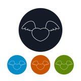 Corazón con las alas, ejemplo del icono del vector Imagen de archivo libre de regalías