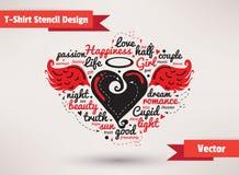 Corazón con las alas Vector del diseño de la plantilla de la camiseta Fotos de archivo libres de regalías