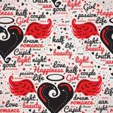 Corazón con las alas Vector inconsútil del diseño Imagen de archivo libre de regalías